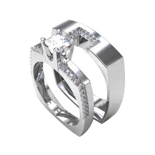 BG /_ 2Pcs//Set Carré Zircone cubique Empilable Anneaux Femmes Mariage Doigt Bijoux P