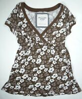 Abercrombie & Fitch Womens Ladies Brown White Floral Top Size Med E215 A1