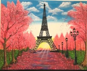 Hand-painted-acrylic-canvas-painting-Cherry-blossom-trees-amp-Eiffel-Tower