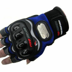New Motorcycle Bicycle Bike Cycling Riding Half Finger Gloves Blue M-XL