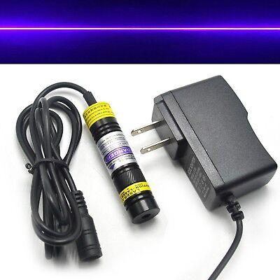 1668 405nm 20mW Foucsable Blue Purple Violet Laser Line Module w AC adapter Glass Lens Diode