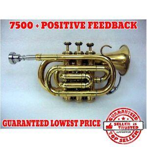 hot sale new bb flat brass pocket trumpet with free hard case mouthpiece ebay. Black Bedroom Furniture Sets. Home Design Ideas
