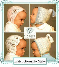 Vintage Visage knitting pattern-how to make 4 pretty baby hat bonnets