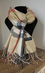 Echarpe-foulard-motif-tartan-55-pashmina-amp-45-soie-66-x-170-cm-Camel-clair