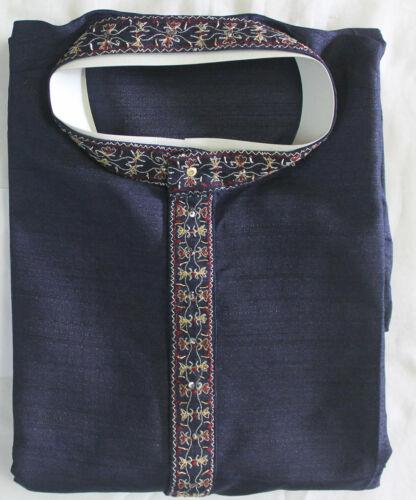 Blue Embroidered Boys  Kurta Pajama  Indian Wedding Shirt Free Shawl Size 13