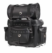 Motorcycle Sissy Bar Touring Luggage  w/ Studs 2 Piece Bag Set Harley Cruiser