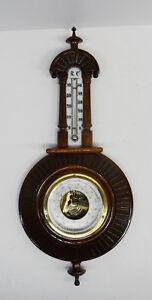 Antiker-edle-Barometer-Wetterstation-Nussbaum-Holz-Gruenderzeit-Jugendstil-1900