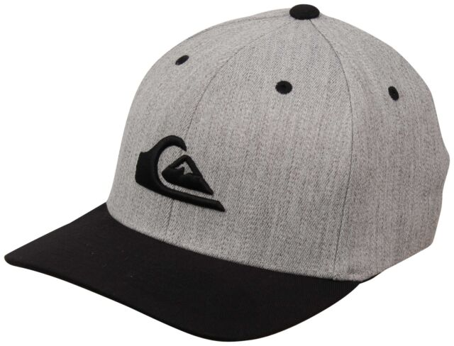 New Quiksilver Men/'s Mountain And Wave Heather Gray Black Flex Cap Hat