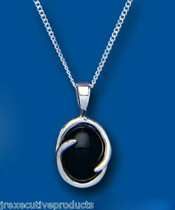 Onyx-Pendant-Natural-Black-Onyx-Necklace-Oval-Solid-Sterling-Silver-18-034-Chain