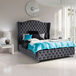Details zu Doppelbett Bernho Polsterbett Schlafzimmer Elegant Bettgestelle  Modern Bett NEU
