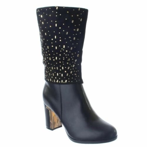 Nouveau haut femmes talon bloc fermeture éclair mi-mollet strass équitation bottes chaussures taille