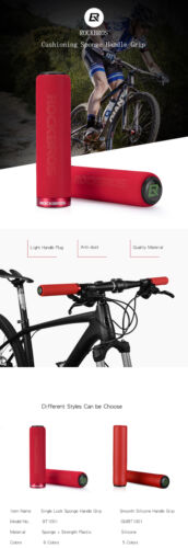1*ROCKBROS Bike Bicycle Grips Silicone Sponge MTB Soft Cycling Handlebar Grips