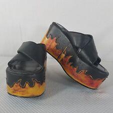 Morbid Threads Vegan Black Goth Flames Platform Slides Shoes 7