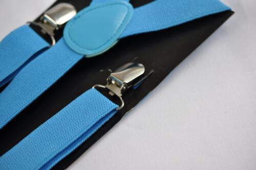 Kids Boys Girl BLUE Solid COLOR Elastic Suspenders Braces 1 to 8 years old