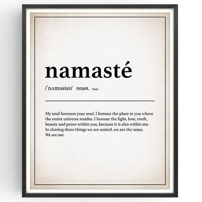 Namaste Definition Print Buddha Yoga Decor Vintage Wall Art Minimalist Gift