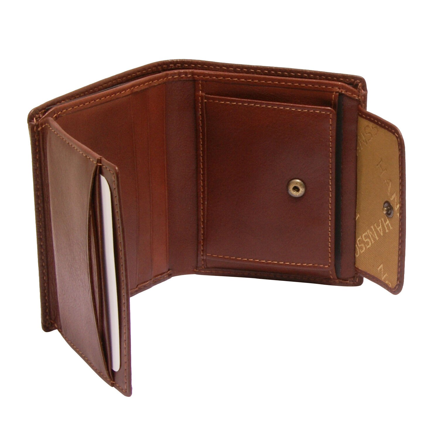 Hansson - braun Italian Leather Card Wallet with Coin Coin Coin Purse and RFID Protection |   3edba9