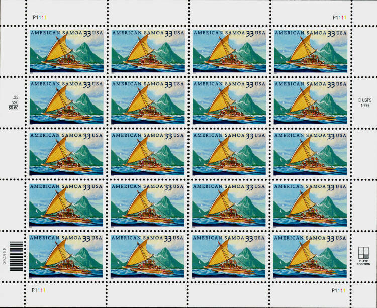 2000 33c American Samoa, South Pacific Ocean, Sheet of