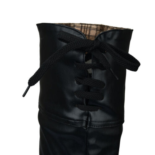 Women Block High Heel Platform Knee High Thigh Boots Round Toe Riding Shoes Size