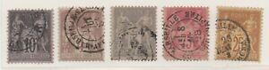 1876-1900-FRANCIA-PACE-E-COMMERCIO-MERCURIO-II-TIPO-5-VALORI-USATI