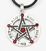 Pewter Amulet Pentagram Tetragrammaton Garnet Crystal January Birthstone Pendant