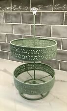 Two Tier Mesh Counter Top Metal Display Stand Baskets Mint Green Jewel