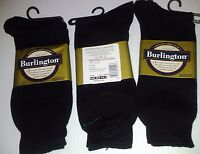Burlington Dress Sized Cotton Crew Socks, Shoe Size 6 - 6 1/2, Black, 3 Pr $9.99