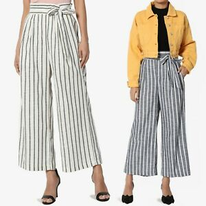 bef62b721539 Image is loading TheMogan-Stripe-Tie-Elastic-Paperbag-High-Waist-Woven-