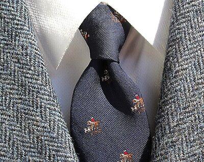 Robert Talbott Vintage Gent's Navy Blue 'V.H.C.' Equestrian Silk Tie - England -