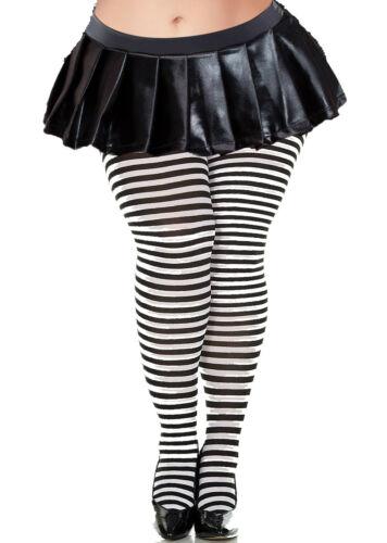 20100Q-BW Plus Size Striped Opaque Tights