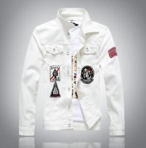 1931bc39ace Details about New Men's White Denim Jackets Fashion Slim Embroidered Denim  Jacket Coat Outwear