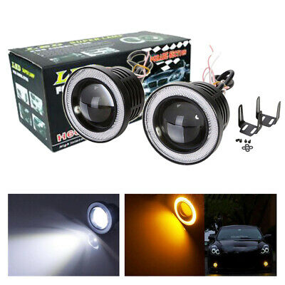 2X 3inch Round Yellow LED Projector Fog Lights with Pink Purple Angel Eyes Halo