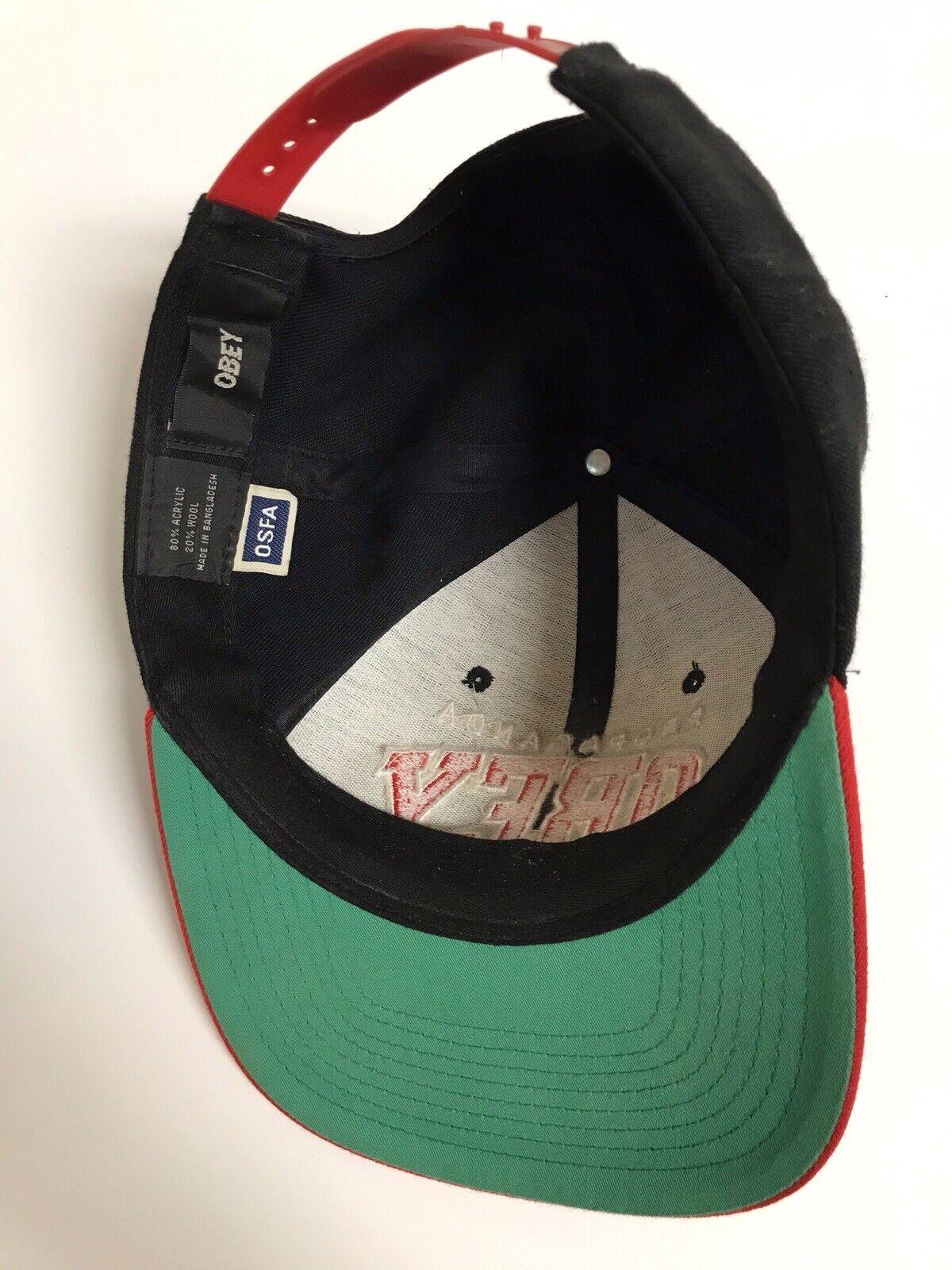 Propaganda Obey Red Black Snapback Hat - image 7