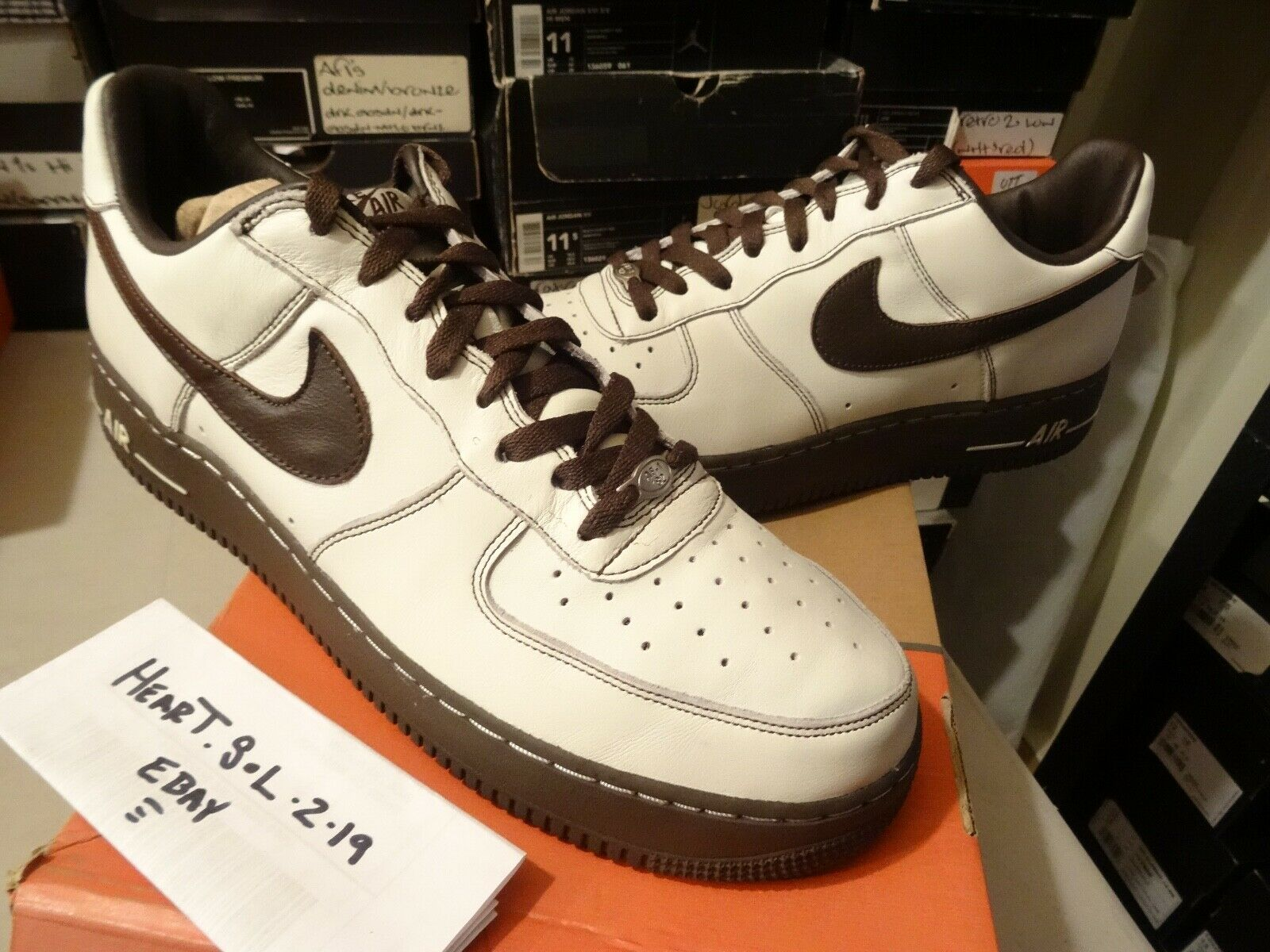 2004 Nike Air Force 1 Premium SZ 13 SAIL Baroque Brown 309096-122 AF1 off white