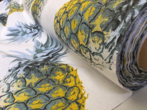 Amarillo Piña Ananas Tela De Cortina Tapicería Tropical Algodón 140cm de ancho