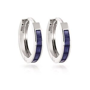 1.30 Karat Prinzessin Schnitt Blauer Saphir Ohrringe Solid 14K Weiss Gold Reifen