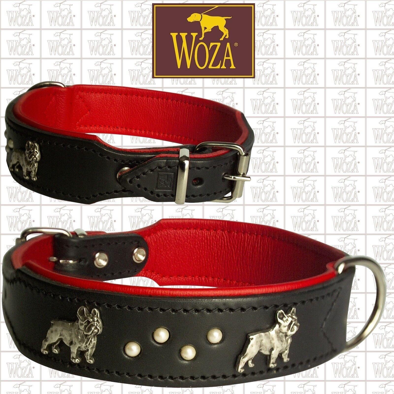 Premium French Bulldog Collar WOZA Full Leather Padded Soft Cow's Napa Bull H32Y