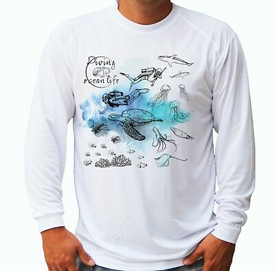 Diving Ocean Fish Long Sleeve UPF 30 T-Shirt Fishing Boat Sport UV Protection