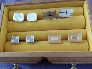 Cuff-Links-Gold-amp-Silver-Tone-4-sets