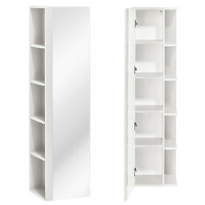 Details zu Badezimmer Hochschrank mit Spiegel Tür und Regal Hochglanz  Badschrank Badmöbel