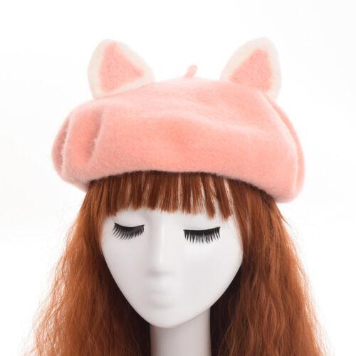 Lolita  Girl Animal Ear Beanie Beret Cap Painter Hat Lady Warm Hat 3 Colors