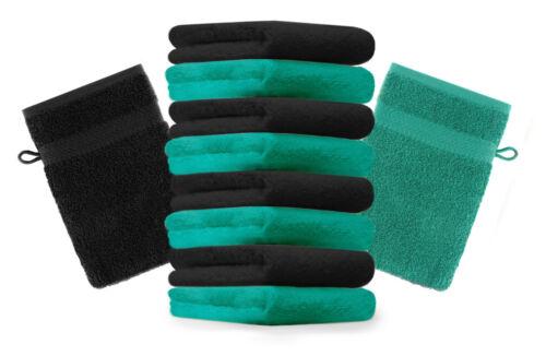 Betz 10er Pack Waschhandschuhe Premium Farbe Smaragd-Grün /& Schwarz 16x21 cm