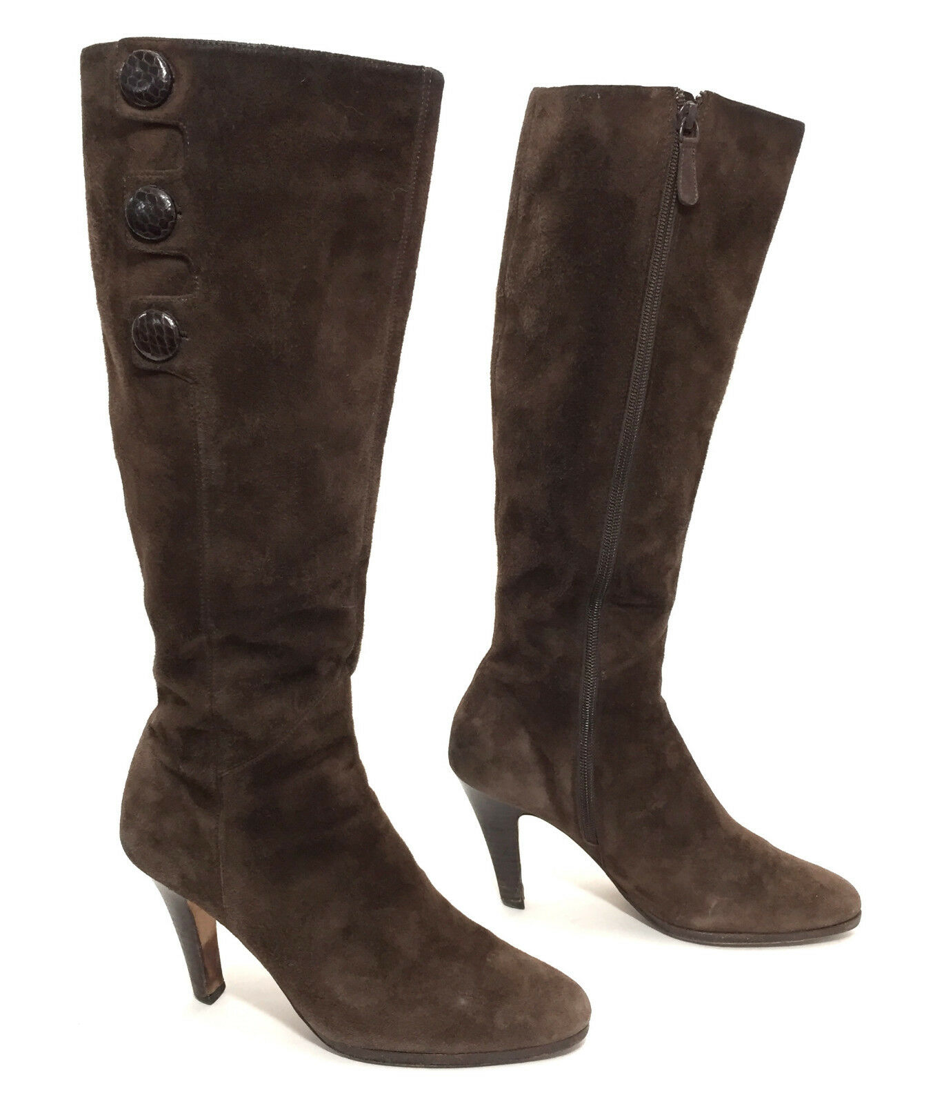 Women's Cole Haan Dark Brown Suede Knee High Boots w  Leather Buttons Size 8.5 B