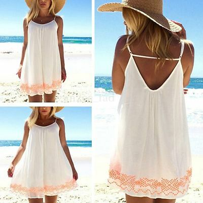 Boho Women Summer Floral Vest Top Blouse Beach Shirt Dress Sundress Plus Size