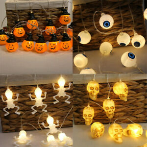 Details About Us Fairy String Light Pumpkin Skeleton Bat Eyeball Led Bulb Party Lamp