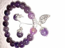 Bracelet en perles d'améthyste de 6mm, 1 rang, diamètre 55 mm, boucles assorties