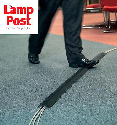 Greenbrook Black Pvc Rubber Cable Tidy Floor Cover