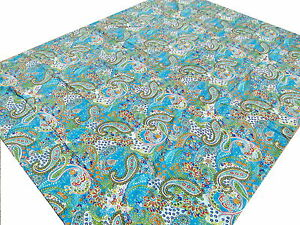 Grand-dessus-de-lit-indien-Turquoise-Bleu-Fait-main-Couverture-Couvre-lit-Kantha
