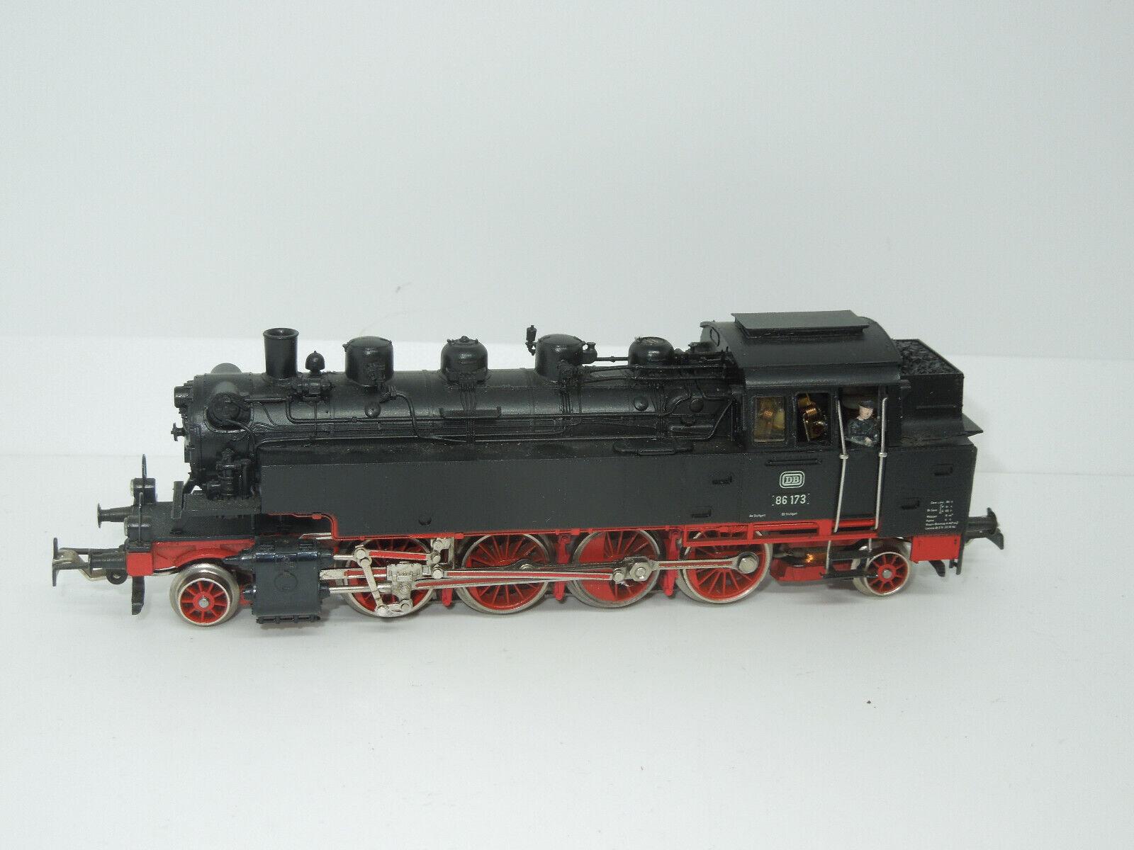Märklin h0 3096 máquina de vapor br 86 173 de la DB con télex embragues