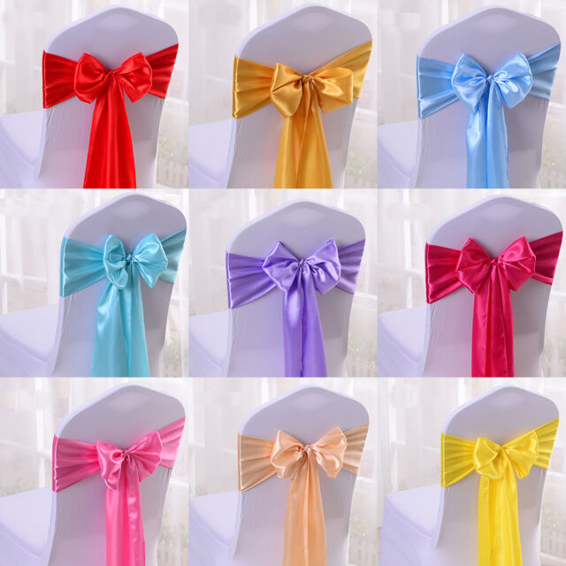 Satin Chair Cover Sash Bow Wedding Party Supplies Back Tie Ribbon Decor 1/10 Pcs