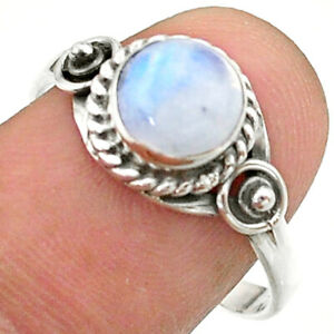 2.42cts Solitaire Natural Rainbow Moonstone 925 Silver Ring Size 9 T41257